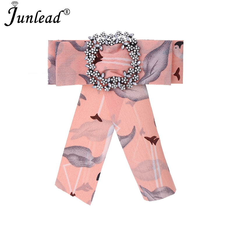 Junlead Fashion Bowknot Buckle Jewelry Cloth Clip Up dresses Statement Flamingo print fabric women Bow Brooches pins Wholedsale