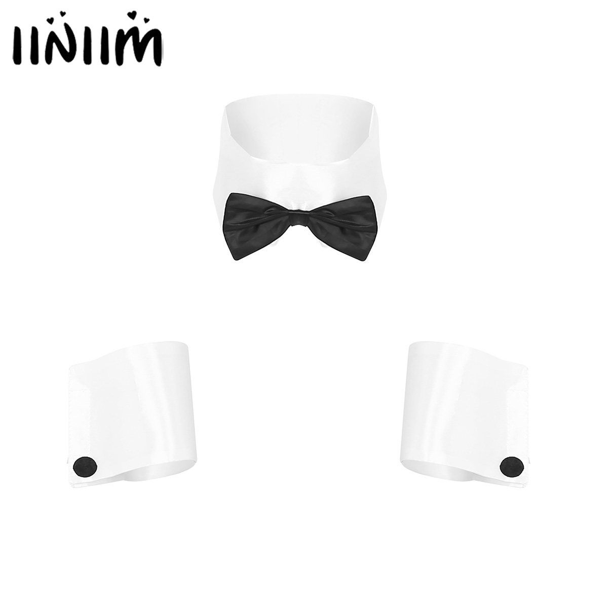 Mens Adults Dancer Costume Playboy Costume Collar And Cuffs Set For Halloween Single Parties Novelty Halloween Accessories