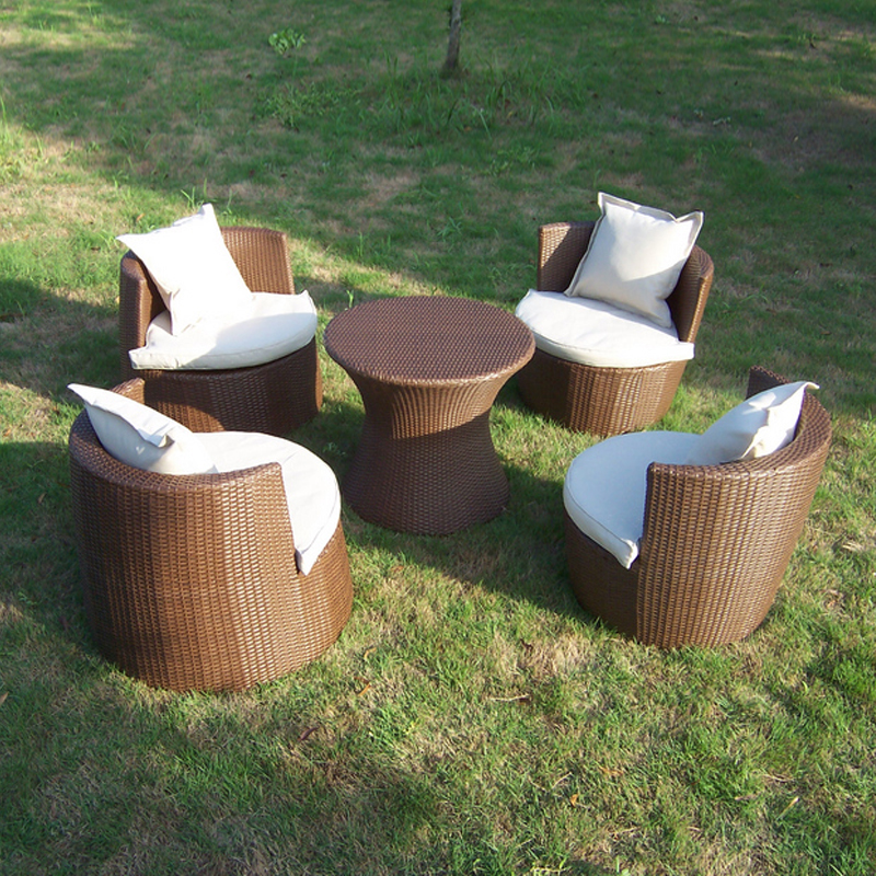цена на Hot sale good quality Garden PE rattan furniture Patio aluminum frame furniture set leisure chair for outdoor transport by sea