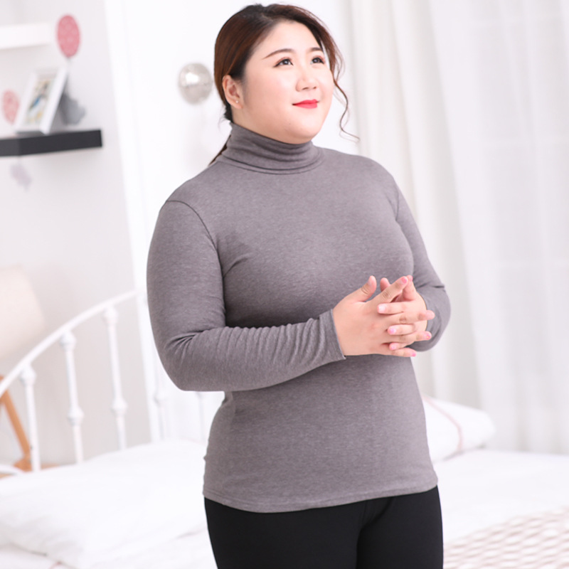 Plus Size Thermal Underwear Tops Turtleneck Shirts For Women 6XL Long Sleeve Pure Cotton Ladies Large Warming Winter Clothes