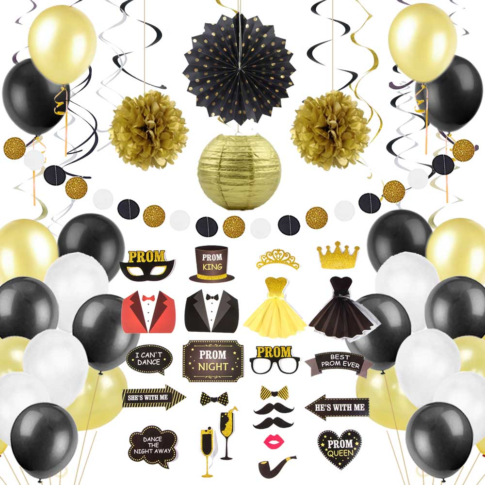 13pcs Prom Party Decor Photo Props Gold Black Balloons Swirl Garland Prom Night King Queen Dance Graduation Evening Party in Party DIY Decorations from Home Garden