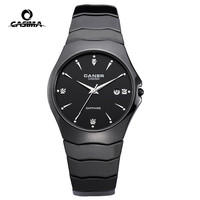 Fashion Casual Lover S Watch Ceramic Black Quartz Watch With Rhinestone Calendar Waterproof Couple Watches