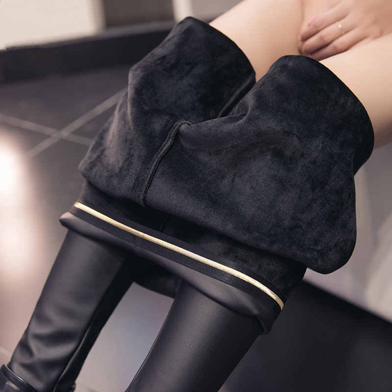 Autumn And Winter Women New Matte PU Leather Pants Phnom Penh Elastic Waist Slim Plus Size Leather Nine Points Leggings MZ2104
