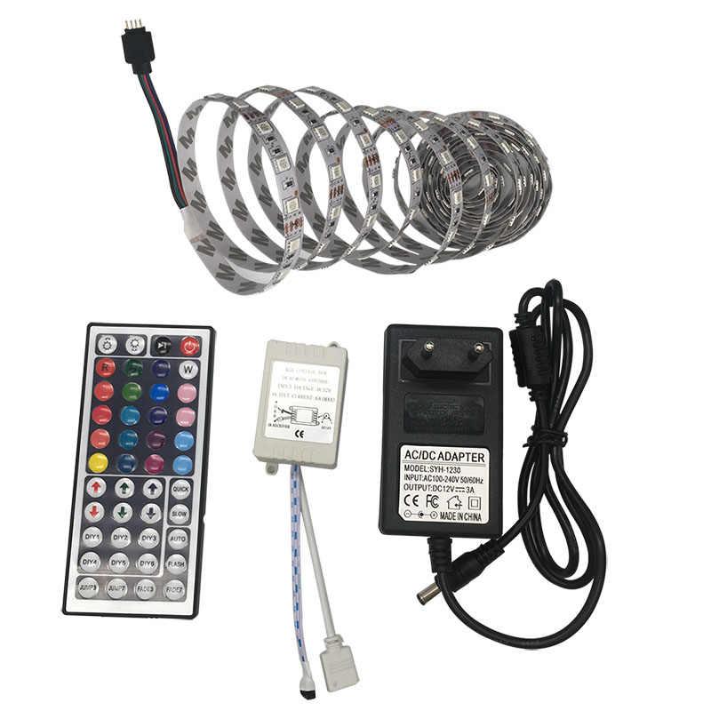 SMD 5050 RGB LED Lampu Strip 5 M Lampu LED RGB LED Fleksibel Pita Dioda Pita Controller DC 12 V adaptor Set