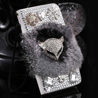 Rhinestone Case For Lenovo A536 A358T Glitter Diamond Case Flip Wallet Hairy Leather Cover Fox Fur