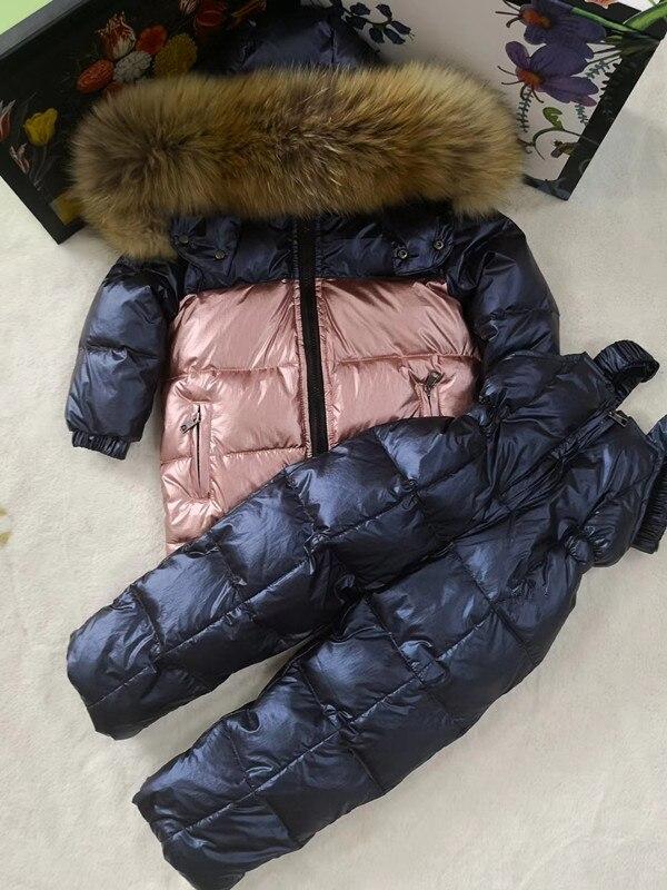 80cm 140cm 2018 Winter Jacket Children down jackets & PANT duck down Fur hooded girl snowsuit boy Suit set outerwear ski suit