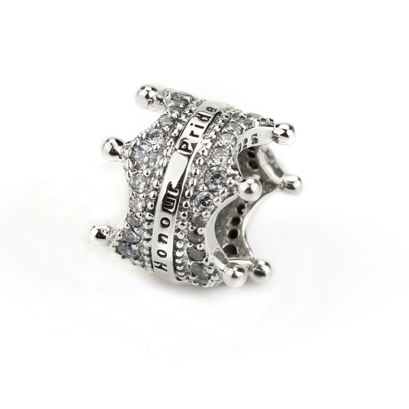100% Real 925 Sterling Silver Crown Shape Charm with Clear ...