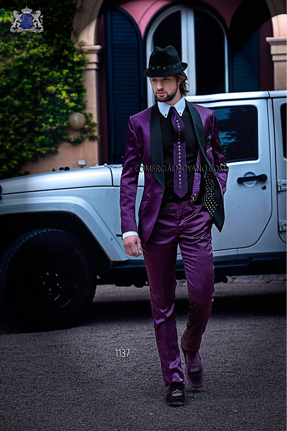 2017 New Arrival Men Blazer Business Men Prom Party Suits Purple Jacket With Pants Wedding Suits For Men Tuxedos Groom Suit