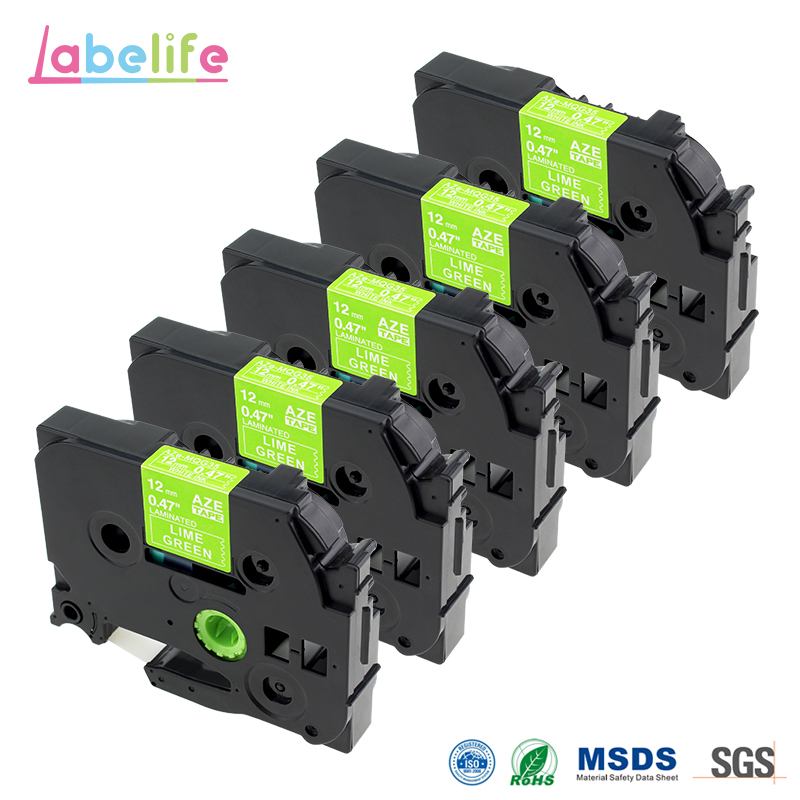 Labelife5 Pack White on Lime Green TZE-MQG35 Label Tape 12mm X 5mm For <font><b>Brother</b></font> P-touch <font><b>PT</b></font>-P750W P700 H100 D400 D600 <font><b>D210</b></font> Printer image