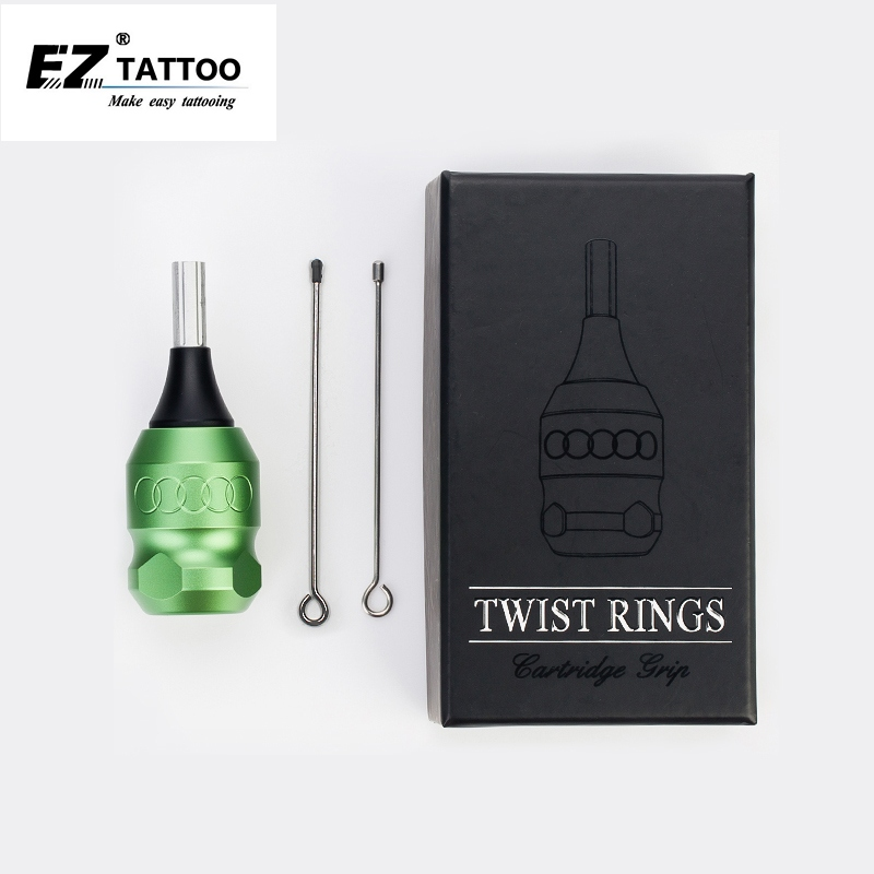 32mm EZ Twist Aluminum Adjustable Cartridge Tattoo Grip Tube 2 Needle Bar for Cartridge Tattoo Needle Rotary & Coil Machine ez twist ring 25mm cartridge style adjustable aluminum tattoo grip with 2 needle bars for rotary tattoo machines