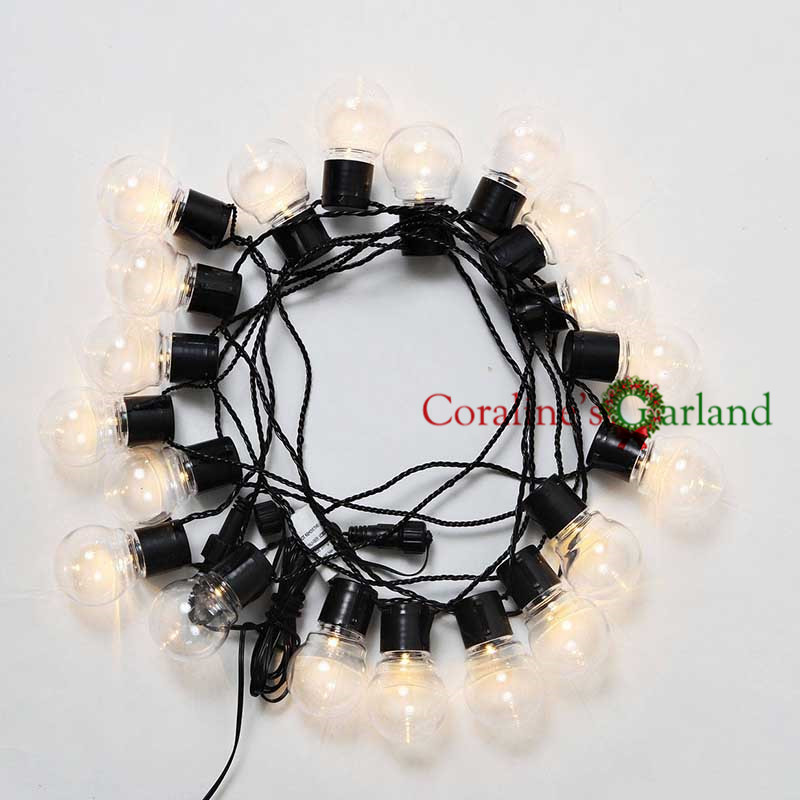 20 LED 6M Clear Globe Connectable Plug Festoon Party String ...