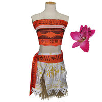 Movie Princess Moana Cosplay Costume Moana Princess Stomacher Type Dress Children Halloween Costume For Women Party