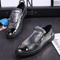 Men Shoes New Arrival Spring Men Silver Leather Casual Shoes Men Snake Pattern Gold Flat Shoes Zip Black Fashion Shoes 37-44