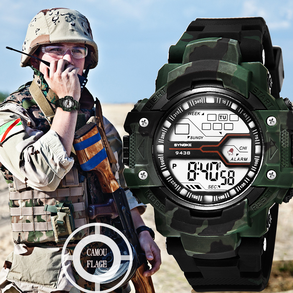 цена на Military Watch Camouflage Color New Outdoor Sports Watch Waterproof Fashion Trend Electronic Watch SYNOKE 94338