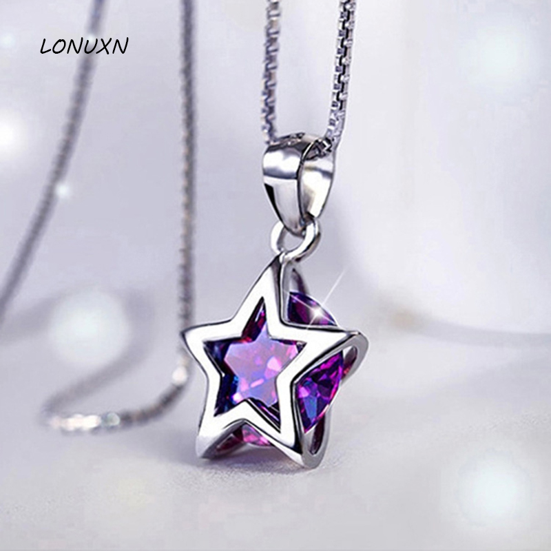 1.4cm 925 Sterling silver necklace round stars Purple Crystal stars Pendant women jewelry female clavicle girlfriend gift ying vahine 925 sterling silver jewelry shiny stars pendant necklace