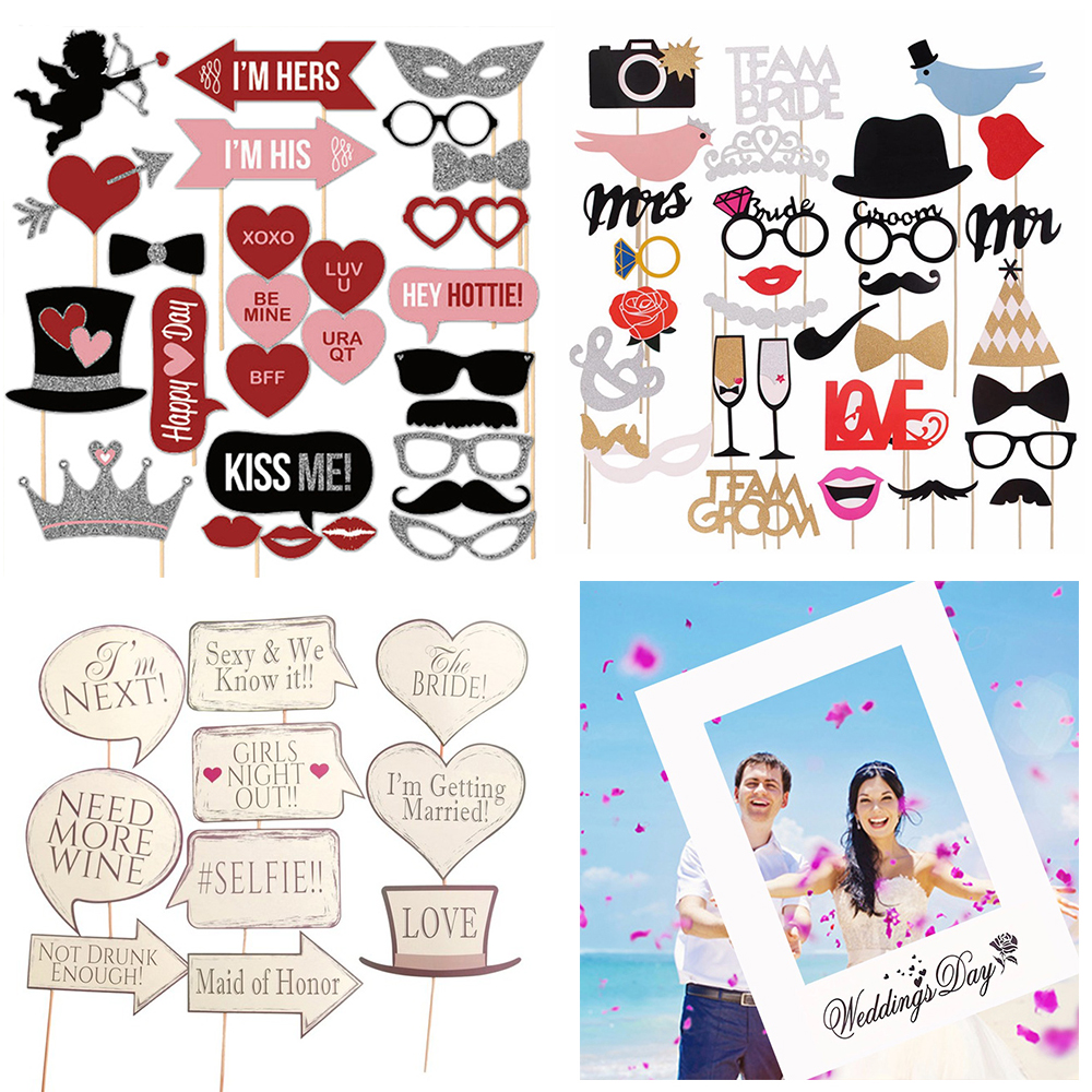 YORIWOO Bachelorette Photo Booth Props Selfie Hen Party Accessories Bride To Be Photobooth Just Married Team Wedding Decorations
