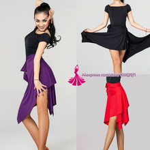 Latin Dance Skirt For Women Black Purple Red Color Professional Sumba Dancing Skirt Adult Cheap Stage Rumba Qia Qia Latin Dress(China)