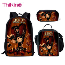 Thikin Bendy and Ink Machine School Bags 3pcs/set for Boys Teenagers School Backpack Cartoon Pattern Bookbag Lovely Satchel