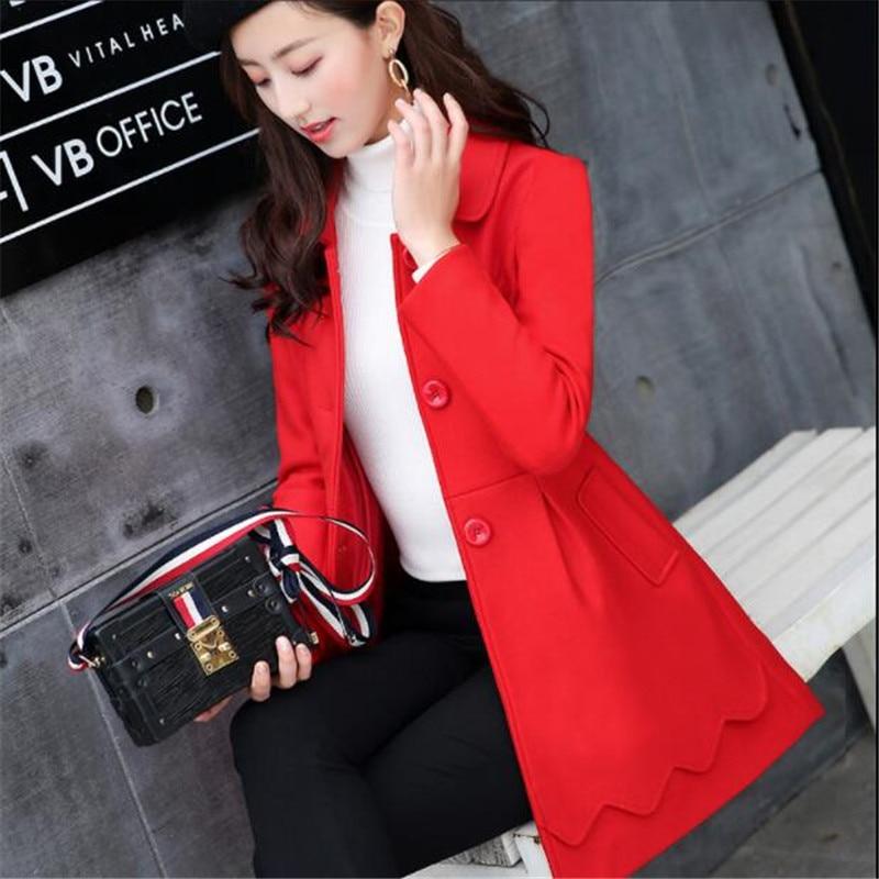 Colour Tempérament Pink red Mode Pardessus Nouvelle caramel Minceur Femme Hiver 2018 Long Manteau Laine As823 Automne Femmes De Mince Corée Moyen ROqCCA