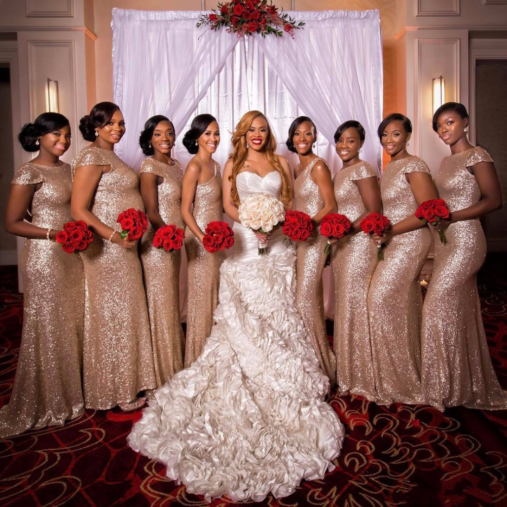 Hq bling rose gold bridesmaids dresses sequins plus size for Maid of honor wedding dress