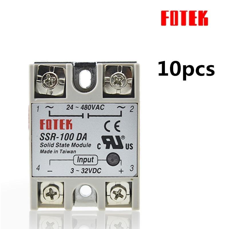 10PCS SSR100DA SSR 100DA Manufacturer 100A SSR Single phase solid state relay input 3 32VDC output