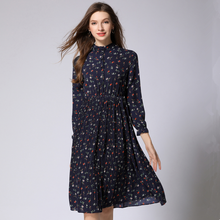 New Arrival 2018 Women Spring Dress Long Sleeve Chiffon Printed Dress Fashion Pleated Hem Sweet Floral