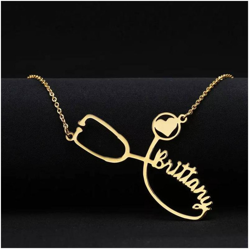 Collar Mujeres Gold Custom Name Necklace Stethoscope Engraved Pendants Customized Gift Personalized Erkek Kolye