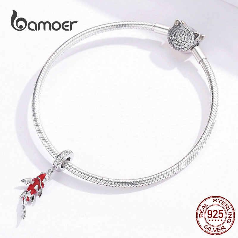BAMOER émail poisson pendentif 925 en argent Sterling balancent breloque idéal pour bracelet collier femmes bijoux fins BSC085