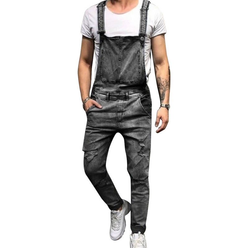 LASPERAL Sexy Ripped   Jeans   Jumpsuit Men Fashion Solid Streetwear Hole Denim Overalls Autumn Casual Pockets Vintage   Jeans   US size
