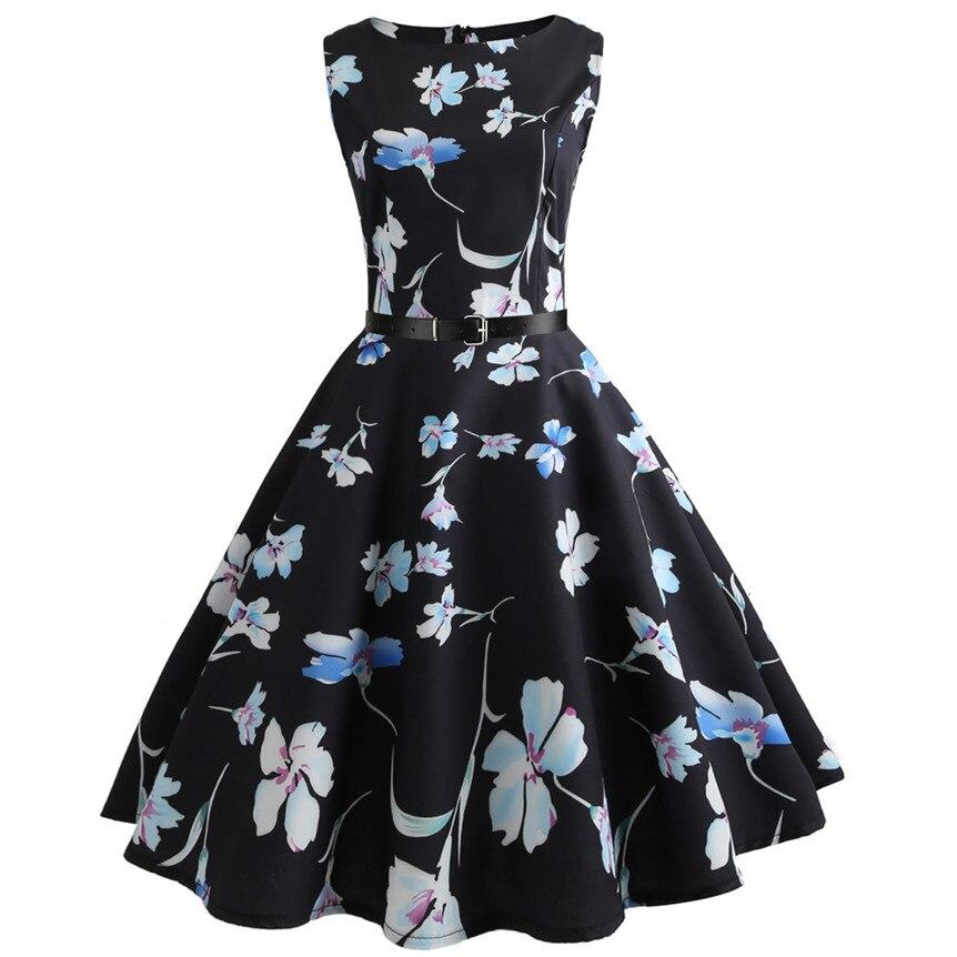 Chamsgend Brand New Floral Print Black Dress Women Retro Tunic Sleeveless A-Line Elegant Dress 80413