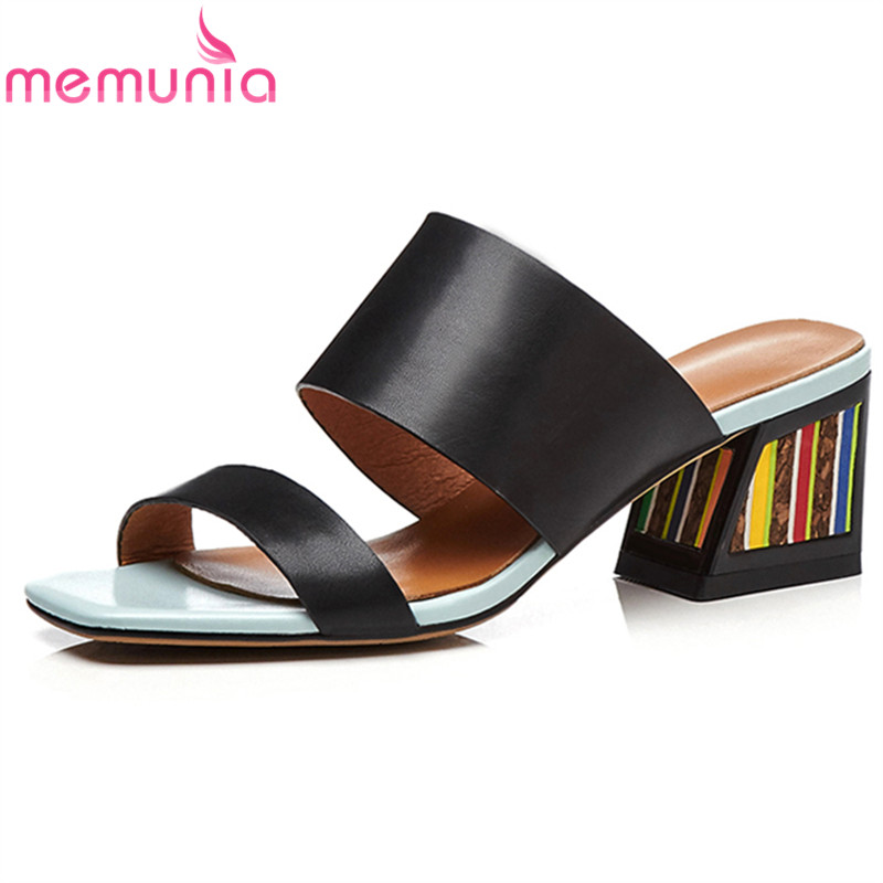 MEMUNIA 2019 genuine leather shoes women sandals colorful high heels summer shoes ladies casual party slippers