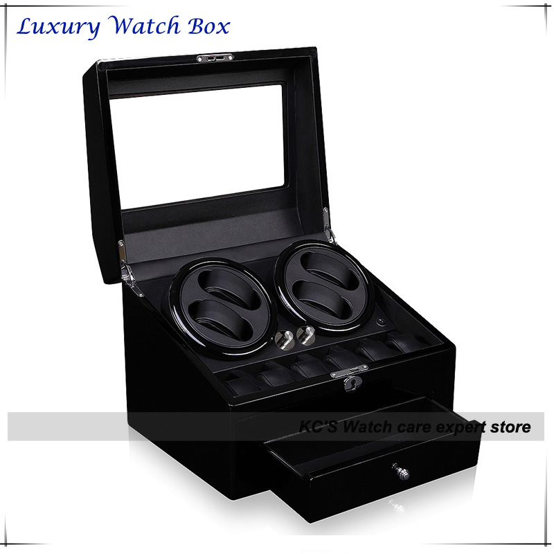 Quality Black Leather & Wood Automatic Watch Winder for RLX 4 + 6 Storage Display Case Box Best Christmas Gifts GC03-D66BB-F high quality 6 7 black black watch winder wood case box carbon fiber pu