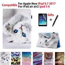 Чехол для Apple iPad 9,7 «6th поколения 2018 2017 A1822 A1893 чехол для iPad Air 1 2 Мода окрашенные стенд основа + пленка + ручка