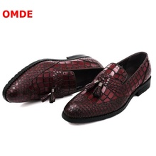 OMDE Crocodile Pattern Mens Shoes Genuine Leather Loafers Fashion Tassel Slip On Party And Prom Summer Boat
