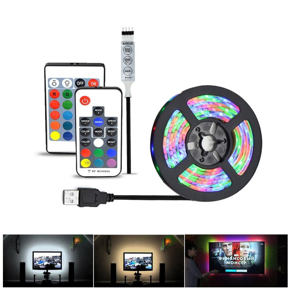 2835 SMD RGB USB charger LED Strip light DC 5V USB Cable LED Light lamp Flexible Tape 1M 2M 3M 4M 5M RF IR RGB Remote control