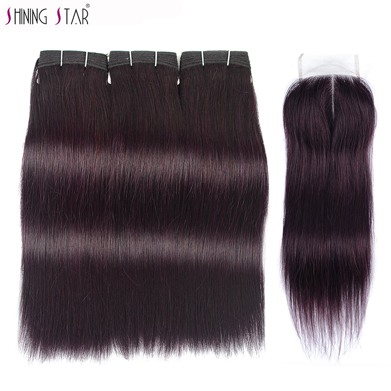 Dark Purple Brazilian Straight Hair Weave Bundle With Closure Purple Red Color 3 Bundle With Closure