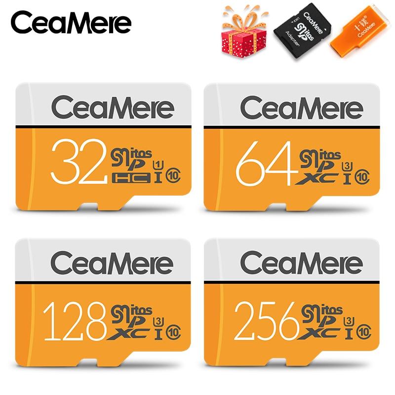 CeaMere Micro SD Card 256GB/128GB/64GB UHS-3 32GB/16GB/8GB Class 10 UHS-1 4GB Memory Card Flash Memory Microsd Free Crad Reader