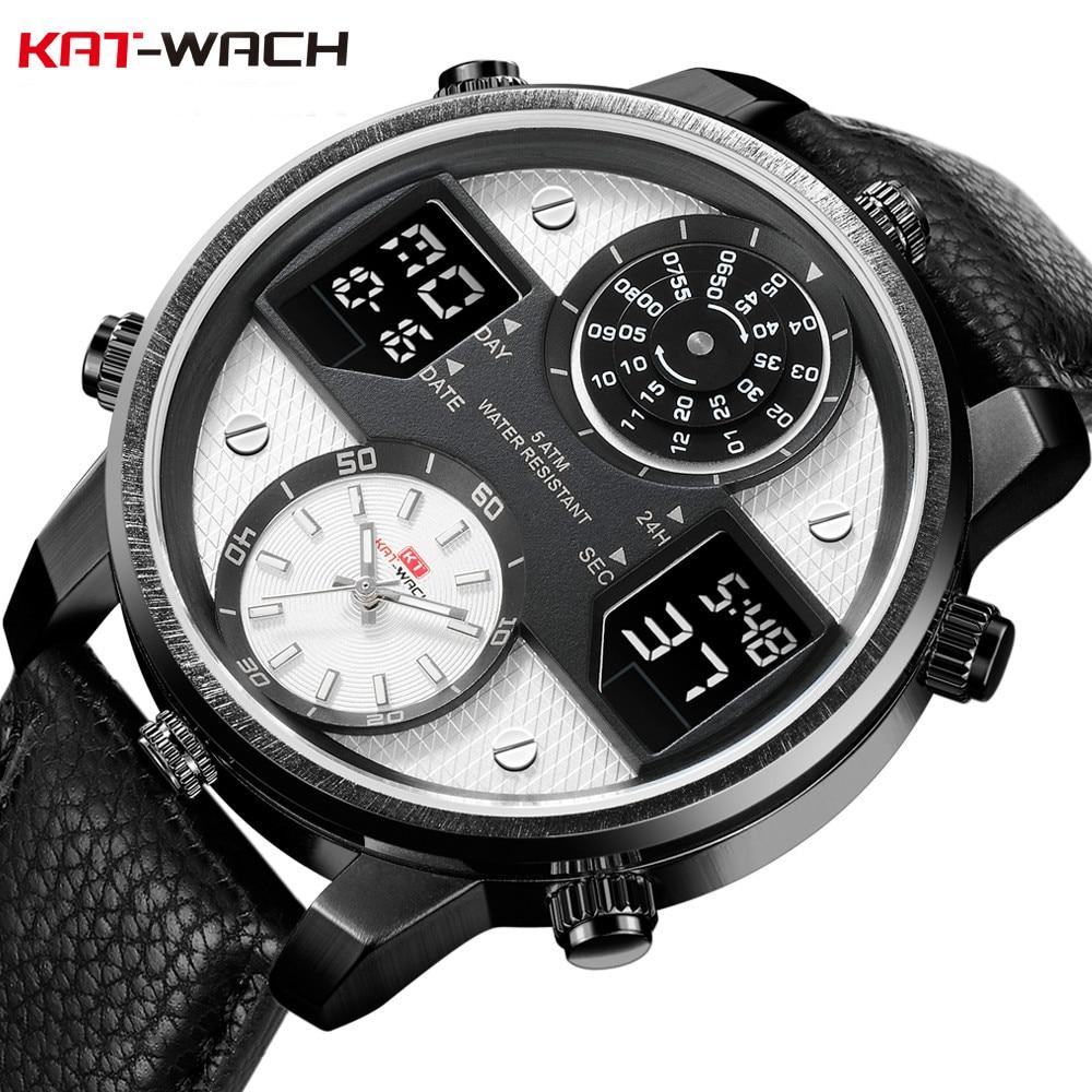 KAT-WACH Luxury Men Watch Water Resistant 5ATM Stainless Steel Case Back Wristwatch LED Quartz Clock Sport Watch Male relogios цена