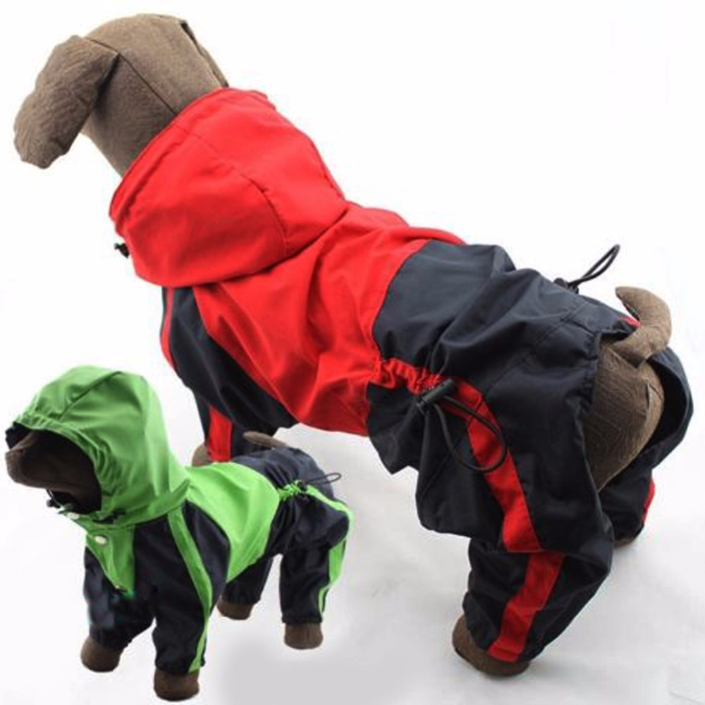 Leather jacket for dogs - New Pu Leather Pet Dog Rain Coat Waterproof Puppy Dog Hooded Raincoat Poncho Clothes Jackets Coat