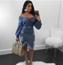 цены 2018 Sexy Women Turndown Collar Broken Holes Torn Edges Blue Denim Two-piece Skirt Set Slinky Distressed Top Skirt Set