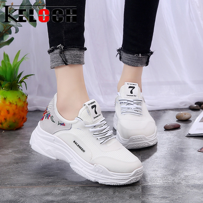 Keloch White Black Shoes Woman Soft Fashion Sneakers Women Breathable Ladies Casual Shoes Lace Up Flats Zapatos Mujer instantarts casual women s flats shoes emoji face puzzle pattern ladies lace up sneakers female lightweight mess fashion flats