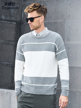 Enjeolon brand winter new knitted pullover Sweaters man o neck sweater men 2 color Spliced pullover sweater men MY3424