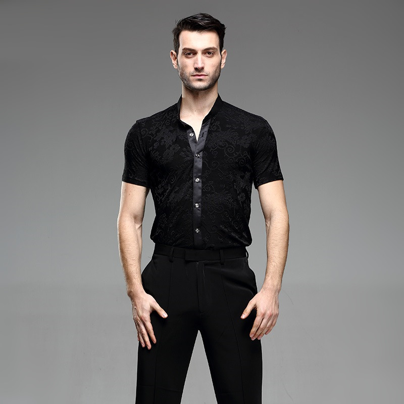 Picture of Black Ballroom Latin Shirt Latin Dance Shirts Men Dance Top Mens Ballroom Dancewear Men Ballroom Clothes Dance Costumes