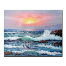DIY Painting Sea By Numbers Sunset Wave Pictures Wall Art Hand Paint Coloring Sunrise Seagull Canvas Living Room Home Decor