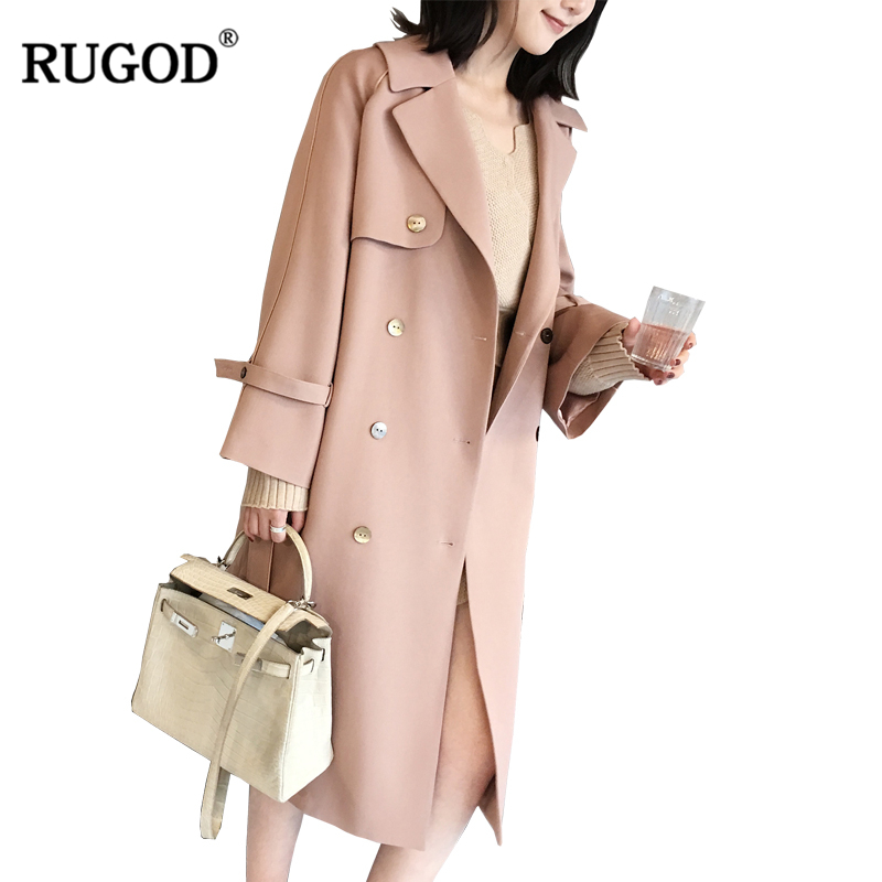 RUGOD Vintage New Female   Trench   Coat X-Long Style Button Turn-down Collar Single Breasted Wide-waisted Solid Outwear For Women