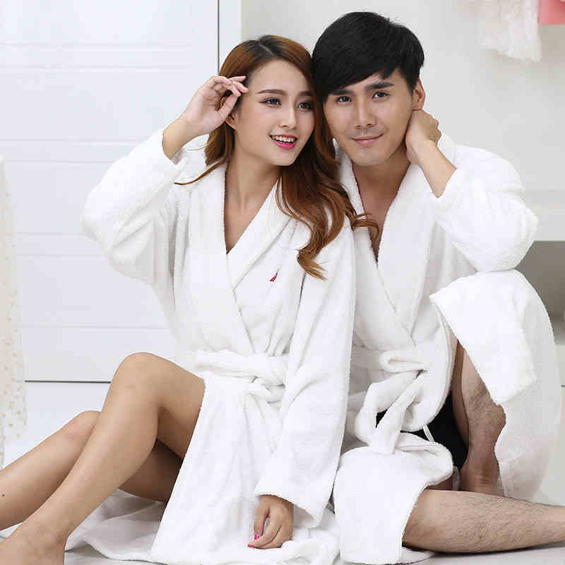 bff9c14f4a cotton thickening towel material women bathrobes top cotton robe women soft  suction bathrobe couple night gowns-in Robes from Underwear   Sleepwears on  ...