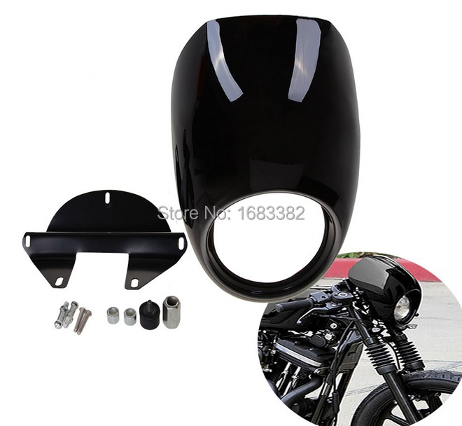 Painting Light Black Headlight Fairing for Harley Front Fork Mount Sportster Dyna FX/XL Glide