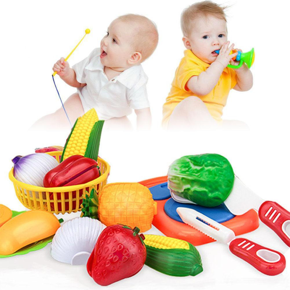 12Pcs Cutting Fruit Vegetable Pretend Play Children Kid Color Recognition Pretend Play T ...