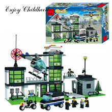 City Police Station Building Blocks 3D Model Building Blocks 466PCs Playmobil Blocks Brinquedos Toys For Children Legoings(China)