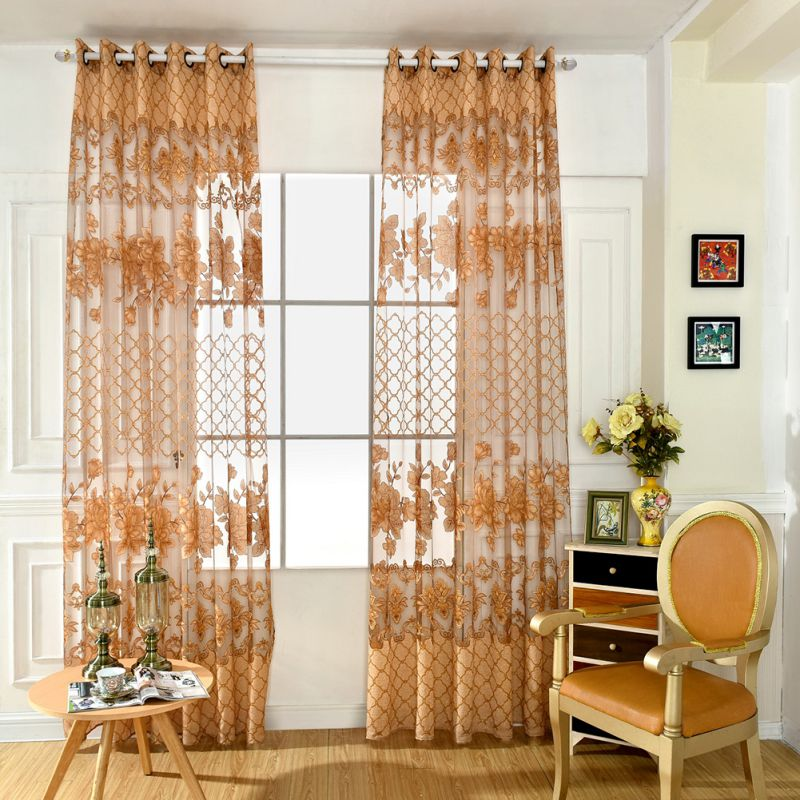 Floarl Printing Tulle Voile Curtains For Balcony Living Room Sheer Curtains For Kitchen Drape